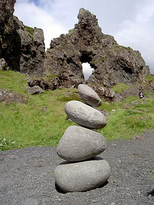 Lifting stone - Lifting stones in Djúpalónsandur in Iceland, weighing from top to bottom 25, 54, 104, and 154 kg