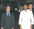 Dmitry A. Medvedev being received by the Minister of State for Communications and Information Technology, Shri Sachin Pilot, on his arrival, at Air Force Palam Airport, in New Delhi on March 28, 2012.jpg