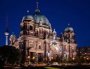 Berliner Dom with Berliner Fernsehturm in the ...