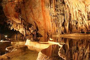 Domica Cave - stalactite lake cascades