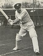 Don Bradman executing a shot. Note the high backlift and strong forward stride.