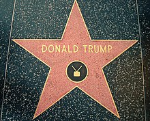 "A red five-pointed star surrounded by a brass bezel set in black sidewalk. The words ""DONALD TRUMP"", and the symbol of a television with antennae, are set into the star in bronze."