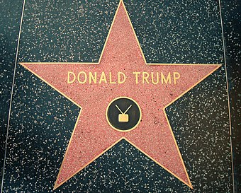 Trump's star on the Hollywood Walk of Fame, installed in 2007 Donald Trump star Hollywood Walk of Fame.JPG