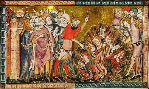 Jews being burned at the stake in 1349. Miniature from a 14th-century manuscript Antiquitates Flandriae Doutielt1.jpg