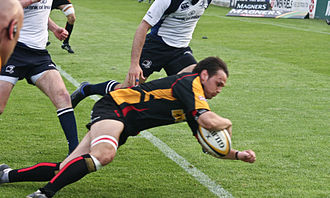 Glossary of rugby union terms - Try during a game between Newport Gwent Dragons and Leinster in the Magners League