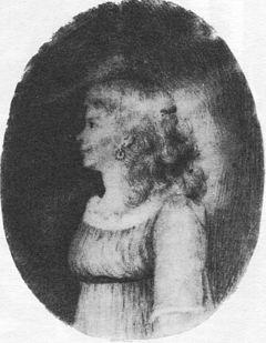 Porträt Luise Duttenhofers, Bleistiftzeichnung auf Elfenbein, vermutlich ein Selbstbildnis (Quelle: Wikimedia)