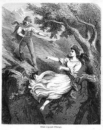 Dziwożona - Dziwożona. Woodcut by Jan Styfi (1839-1921) based on an earlier engraving by Henryk Pillati. Published in Tygodnik Ilustrowany magazine on October 22, 1864