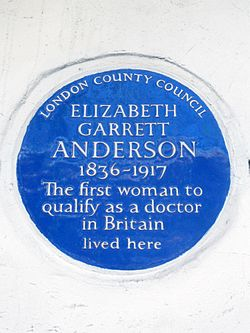 Elizabeth garrett anderson 1836 1917 the first woman to qualify as a doctor in britain lived here