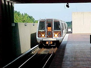 Falls Church, Virginia - Metro train entering East Falls Church station