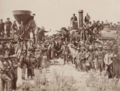 East and West Shaking hands at the laying of last rail Union Pacific Railroad - Restoration.png