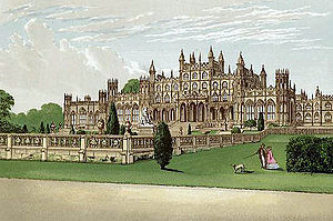 William Porden - Eaton Hall, later remodelled and extended by Alfred Waterhouse, demolished c.1960