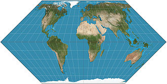 Eckert II projection - Eckert II projection of the world