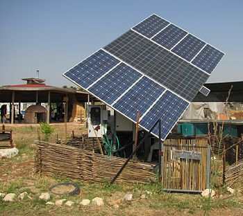 English: A solar panel used at the Ecological ...