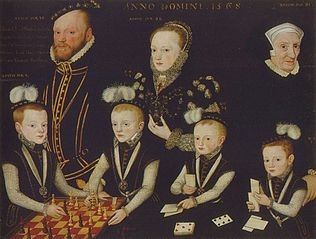 Portrait of Edward, baron of Windsor, Katherine de Vere, and their family