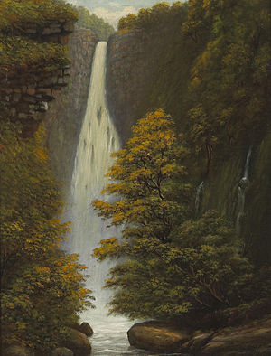 Edward Bailey - Falls of Hanapepe, Kauai, oil on canvas painting by Edward Bailey, 1887