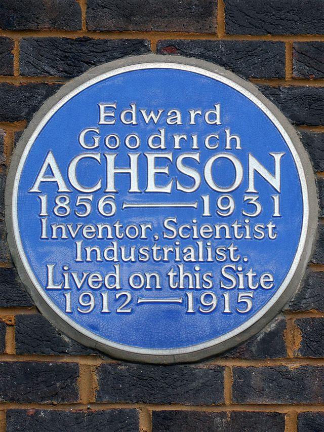 Edward Goodrich Acheson blue plaque - Edward Goodrich Acheson 1856-1931 inventor, scientist, industrialist lived on this site 1912-1915