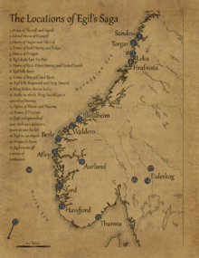 A map including many of the locations Egil travels to
