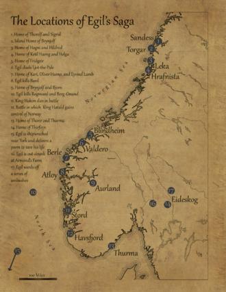 Egil's Saga - A reference map of Egil's Saga (Norway)