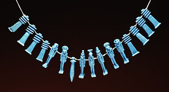 Egyptian faience - Group of 16 amulets strung as a necklace, in the typical bright faience blue, Late Period