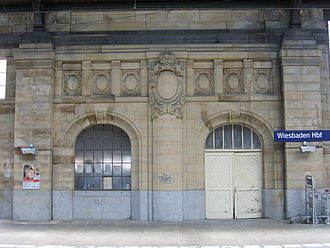 Wiesbaden Hauptbahnhof - Entrance hall to royal pavilion (now destroyed) on track 1