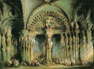 Jenaro Pérez Villaamil - Image: El Pórtico de la Gloria de la Catedral de Santiago de Compostela, 1849, Jenaro Pérez Villaamil, Palacio de la Moncloa, Madrid