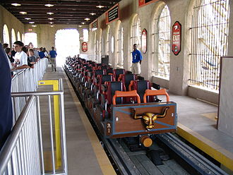 Roller coaster elements - El Toro (2006), a wooden roller coaster at Six Flags Great Adventure in New Jersey, uses traditional lap restraint trains.