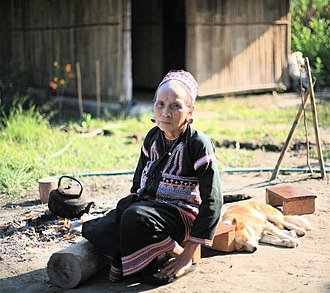 Lahu people - An elderly Lahu woman at a refugee camp in Thailand.
