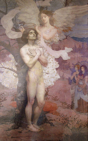 Saint - Reward of Saint Sebastian by Eliseu Visconti, c. 1898. In traditional Christian iconography, saints are often depicted with halos, a symbol of holiness