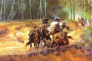 Emilia Plater - Emilia Plater in a skirmish at Šiauliai. Painting by Wojciech Kossak, oil on canvas.