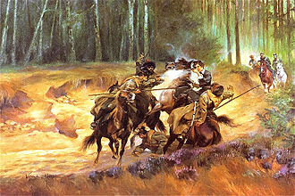 Emilia Plater - Emilia Plater in a skirmish at Šiauliai. Painting by Wojciech Kossak, oil on canvas.