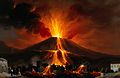 Eruption of a volcano above a village; lava covering Wellcome V0044790.jpg
