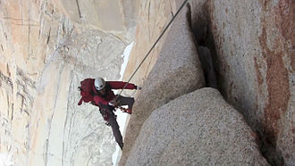 Climbing - Climber on Mount Fitz Roy, Argentina.