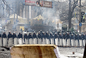 2014 Ukrainian revolution - A line of riot police in Kiev on 12 February.