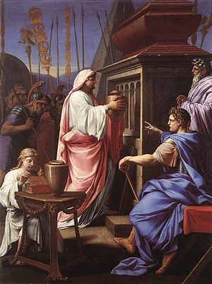 Agrippina the Elder - Caligula Depositing the Ashes of his Mother and Brother in the Tomb of his Ancestors, by Eustache Le Sueur, 1647