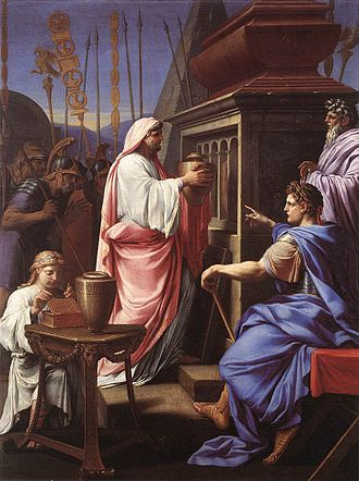 Caligula - Caligula Depositing the Ashes of his Mother and Brother in the Tomb of his Ancestors, by Eustache Le Sueur, 1647