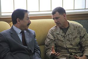 24th Marine Expeditionary Unit - Col. Frank Donovan, 24th MEU commander, talks with Thamer Alfaiez, the governor of Aqaba City, Jordan, during Exercise Eager Lion 12.