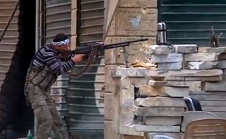 An FSA fighter engaged in a firefight in Aleppo FSA Fighter.PNG