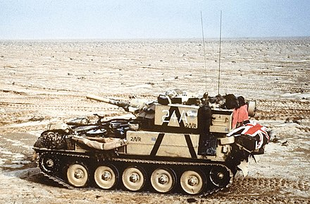 Scorpion advancing across the desert during the first Gulf War. - FV101 Scorpion
