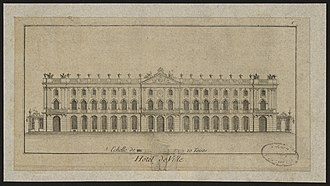 Place Stanislas - Plan of the façade of the Hôtel de Ville, presented by Emmanuel Héré
