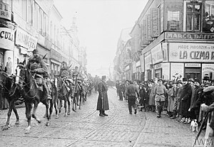 Battle of Bucharest - Image: Falkenhayn's cavalry entering Bucuresti on December 6, 1916