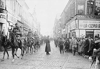 Battle of Bucharest - Falkenhayn's cavalry entering Bucharest on 6 December 1916