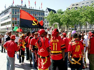 Angola national football team - Fans of the Angolan national football team in Cologne, Germany.