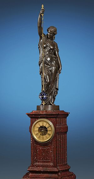 Albert-Ernest Carrier-Belleuse - Sculpture of Urania by Carrier-Belleuse atop conical mystery clock by Eugène Farcot. Made for Great London Exhibition of 1862