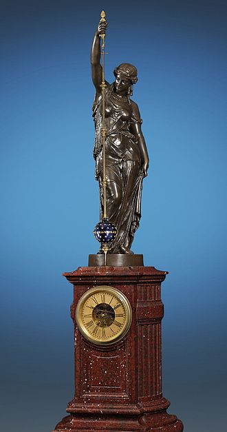 Urania - A monumental conical pendulum clock by Eugène Farcot depicting the Greek goddess, 1862.