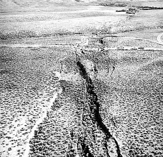 Surface rupture - Surface rupture caused by normal faulting along the Lost River Fault, during the 1983 Borah Peak earthquake