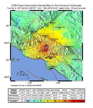 1971 San Fernando earthquake - CISN ShakeMap of the San Fernando earthquake mainshock