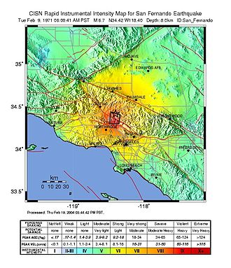 1971 San Fernando earthquake - CISN ShakeMap of the San Fernando earthquake mainshock