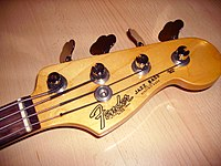 a typical fender jazz bass headstock