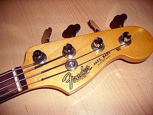 Fender Jazz Bass - A typical Fender Jazz Bass headstock.