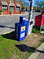 Film crew for the TV series 'Condor' installed faux newspaper boxes on this Toronto street, to make it look like Washington, DC, 2017 05 30 -a (34666417540).jpg